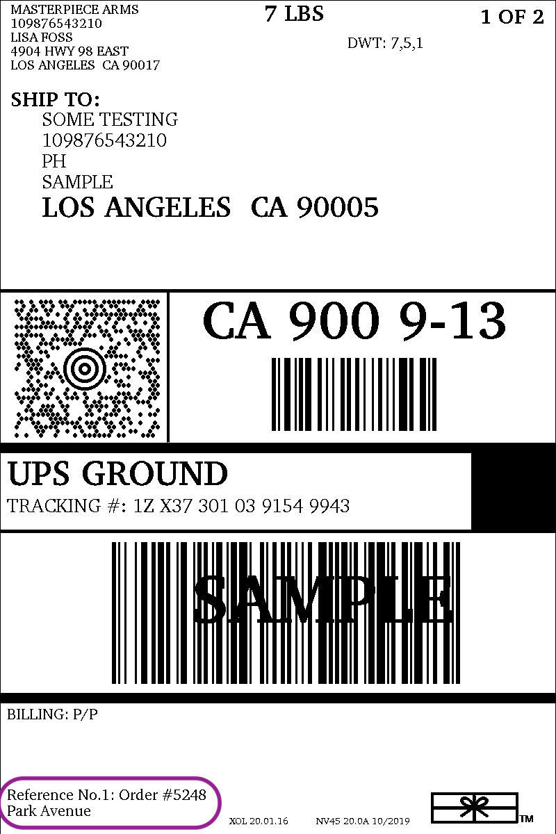 sample woocommerce UPS shipping label
