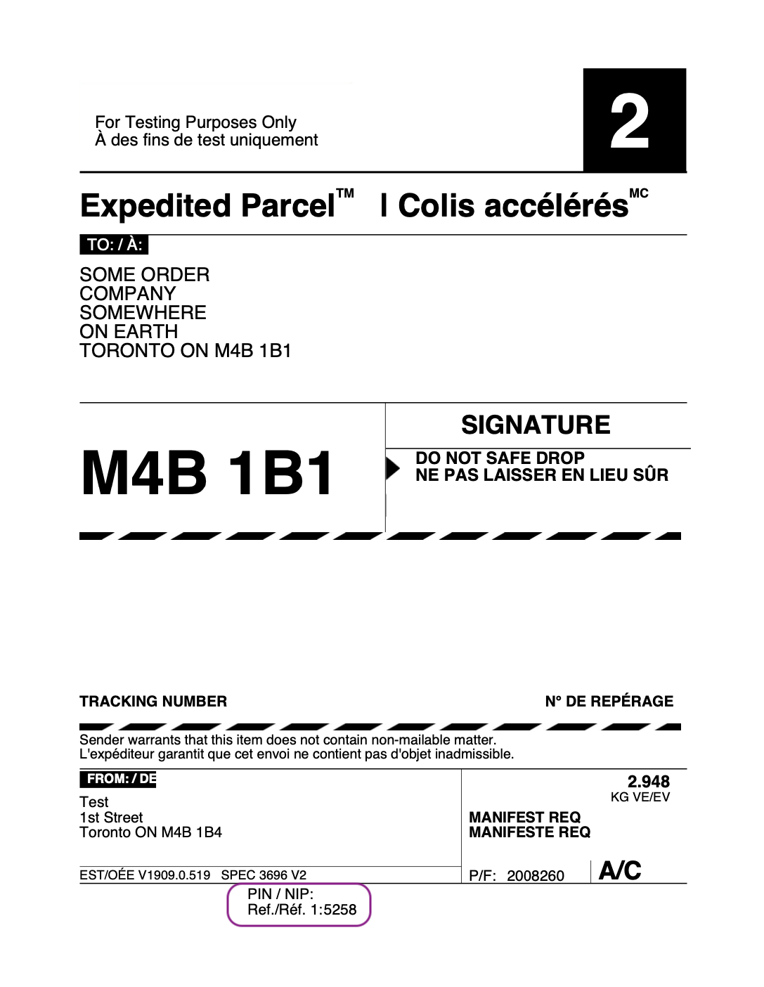 sample woocommerce canada post shipping label