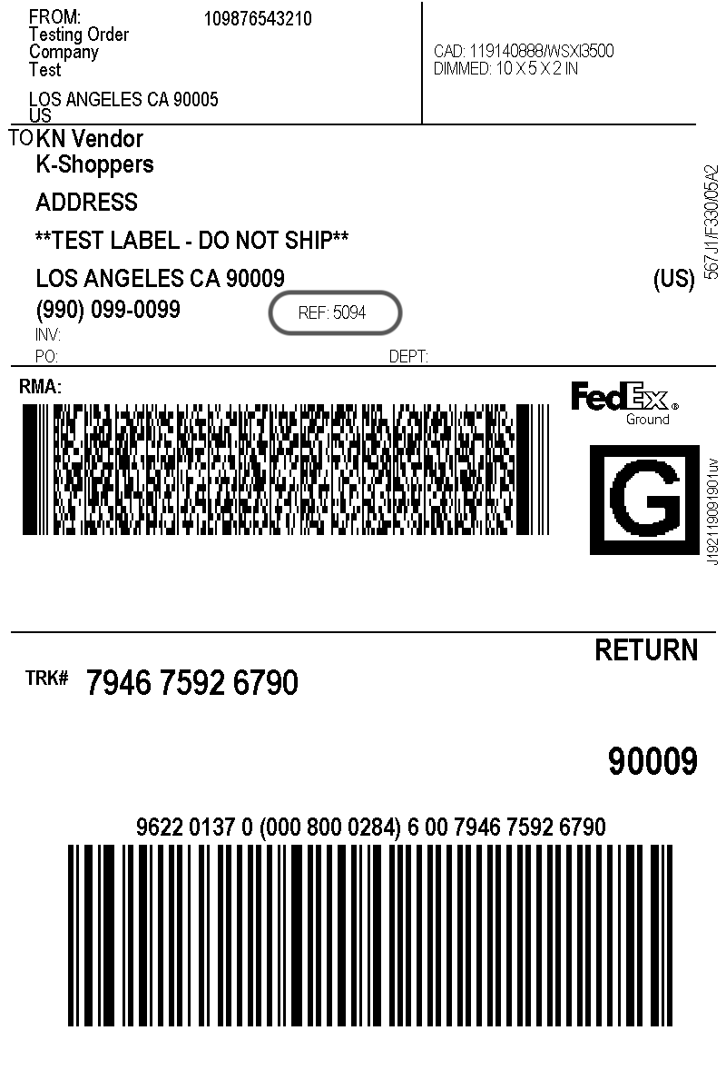 sample woocommerce fedex shipping label