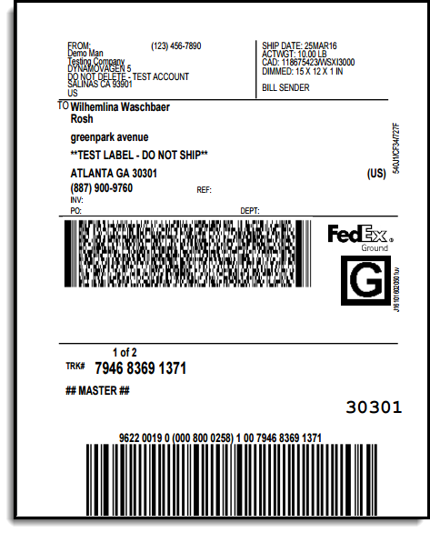 FedEx Shipping Label