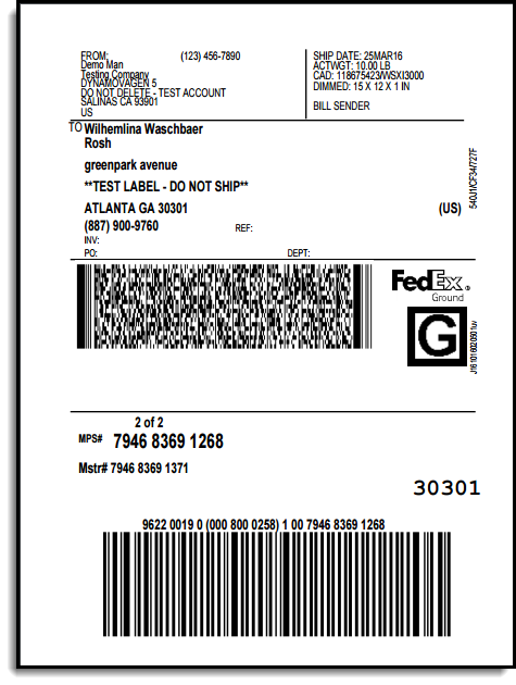 Second fedex shipping label