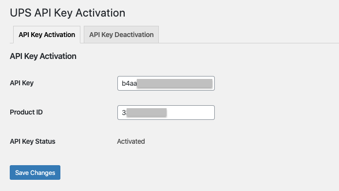 entering the product id and api keys