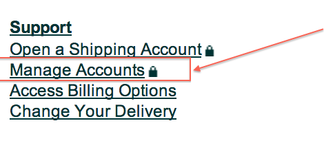 UPS manage account