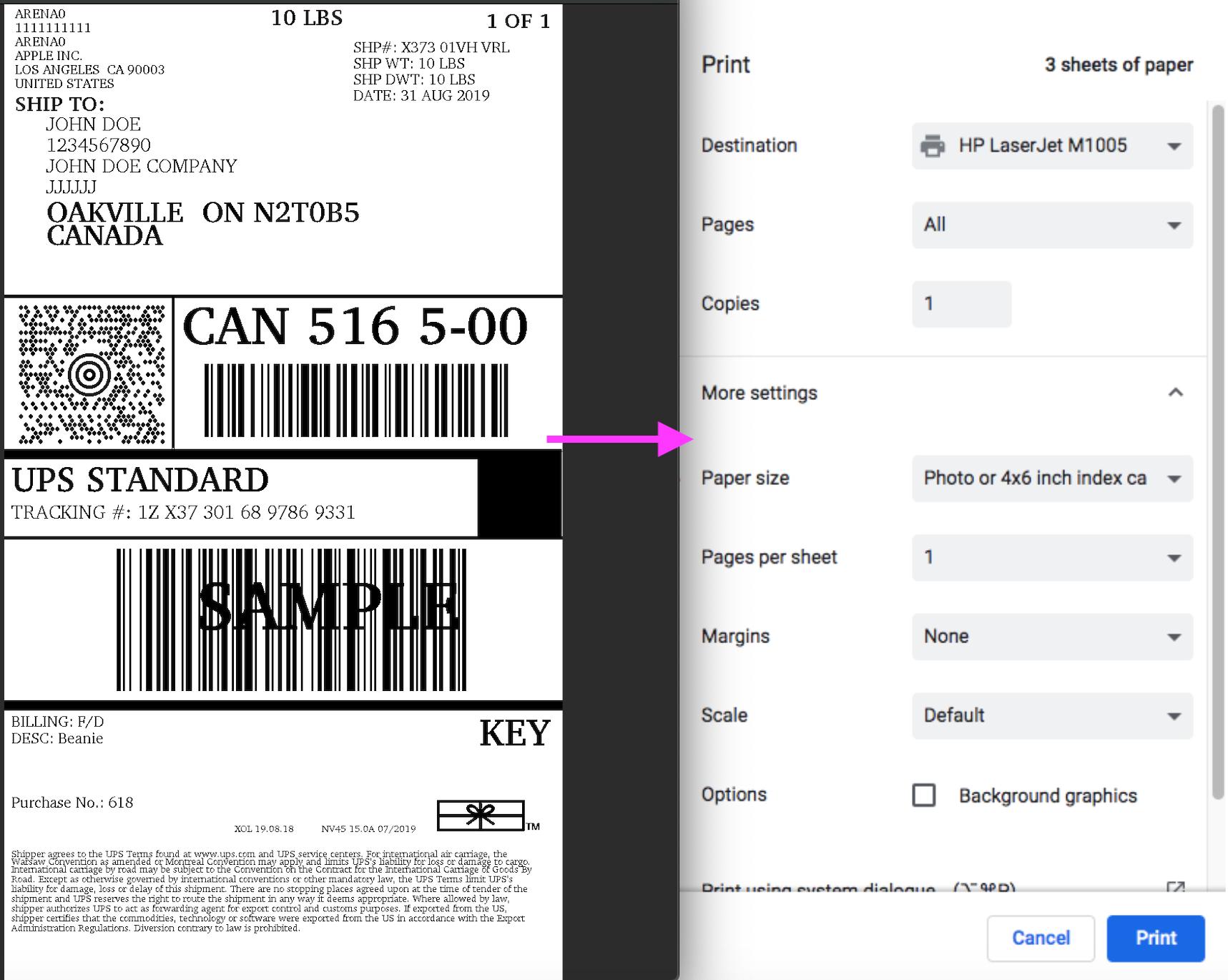 ups label printing mcsl shopify
