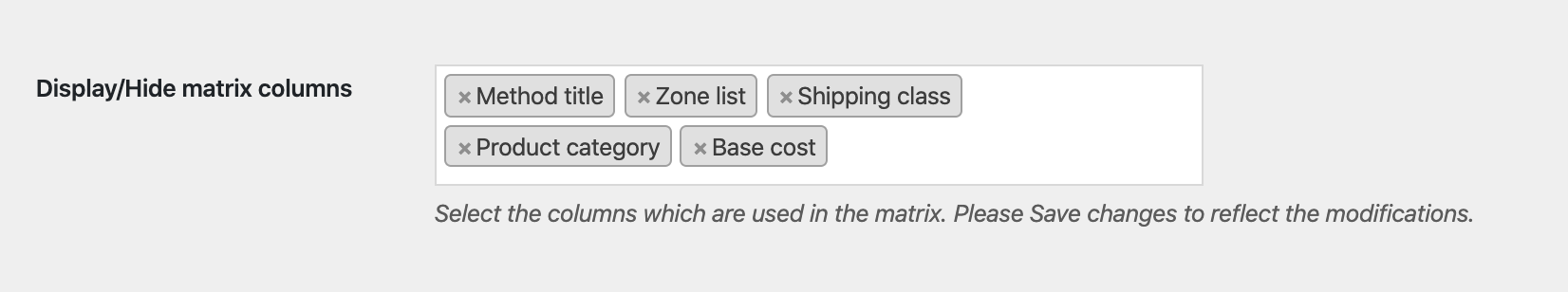 enable woocommerce zone column