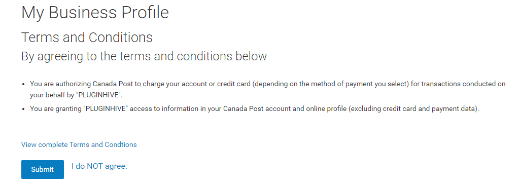 Canada Post terms and conditions