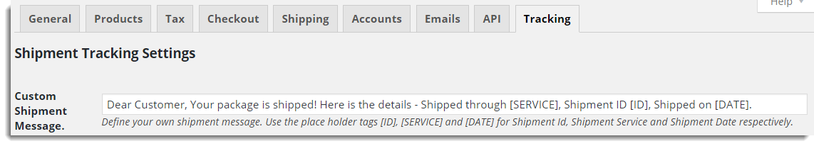 Customise Shipment Tracking Message