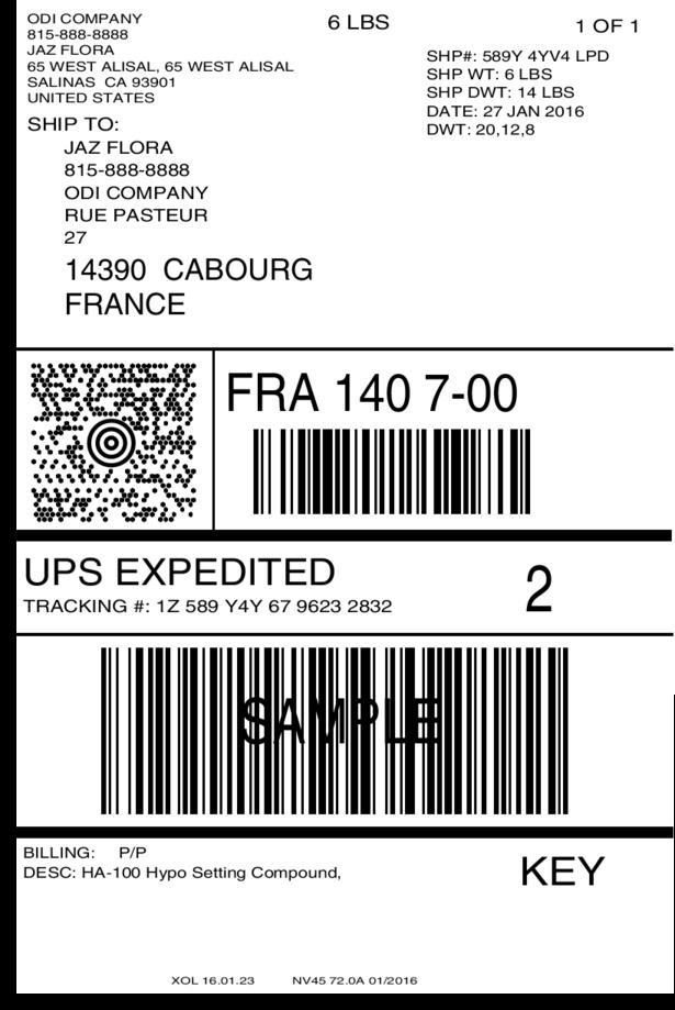International UPS shipping label
