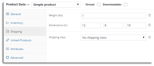 Product weight and dimensions