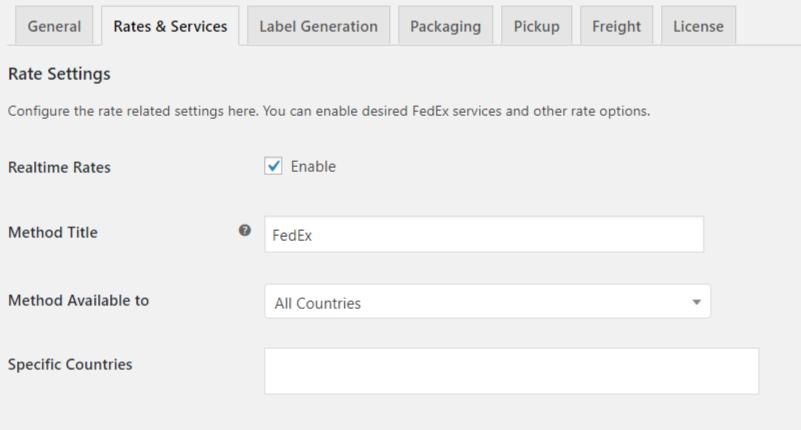 Rate settings