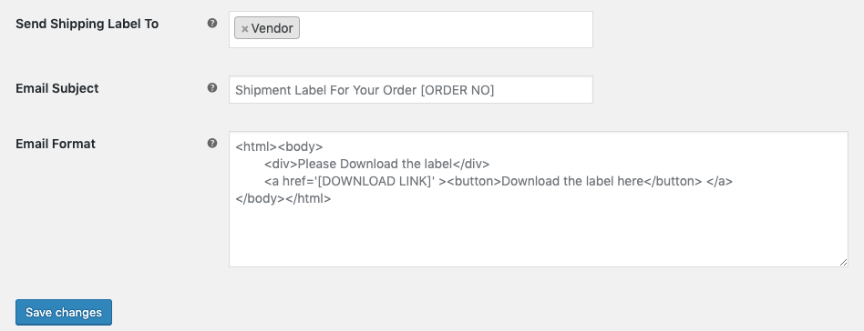 Set send shipping label to Vendor