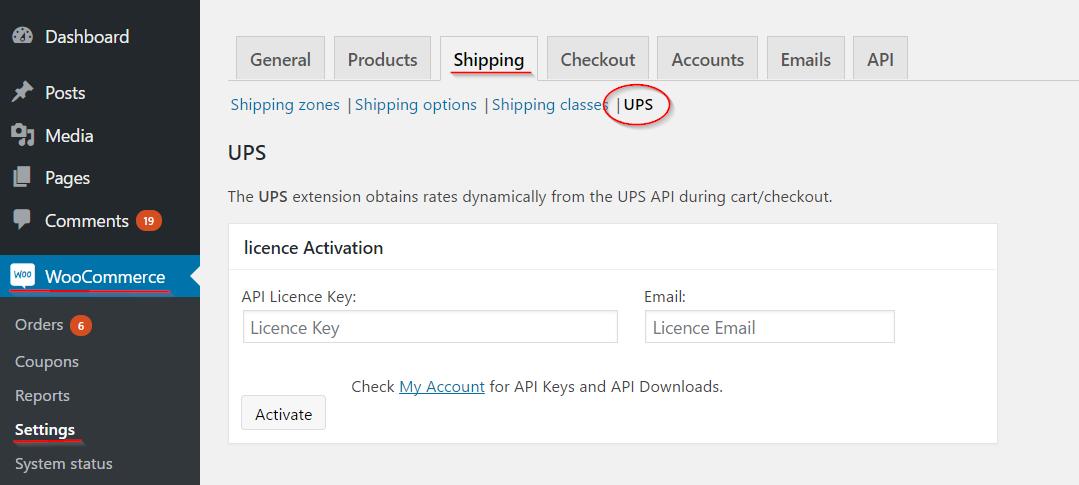 UPS settings page