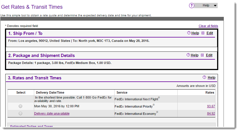 Official FedEx calculator