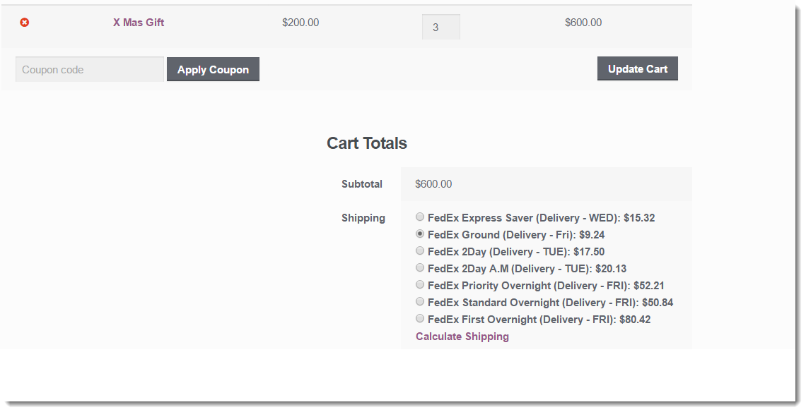 fedex shipping rates on cart