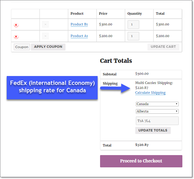 FedEx rates on cart