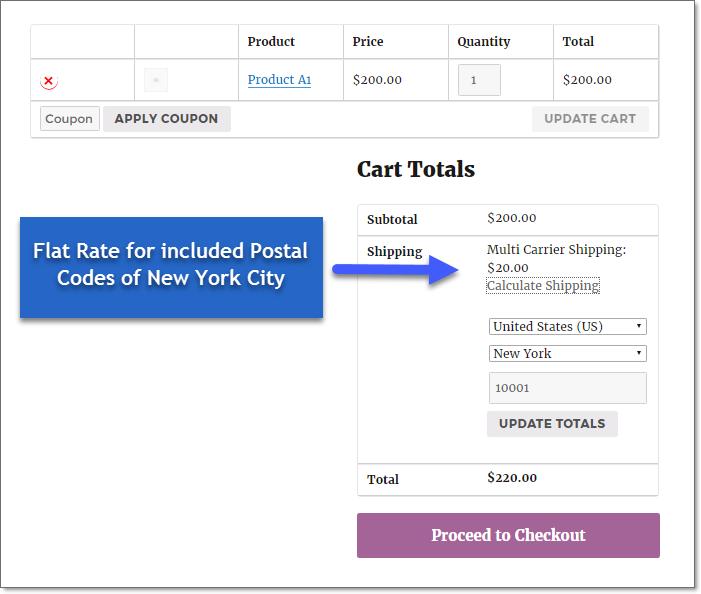 Flat rates on cart