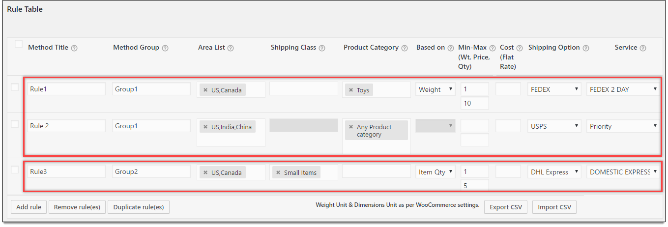 Shipping rules in plugin settings