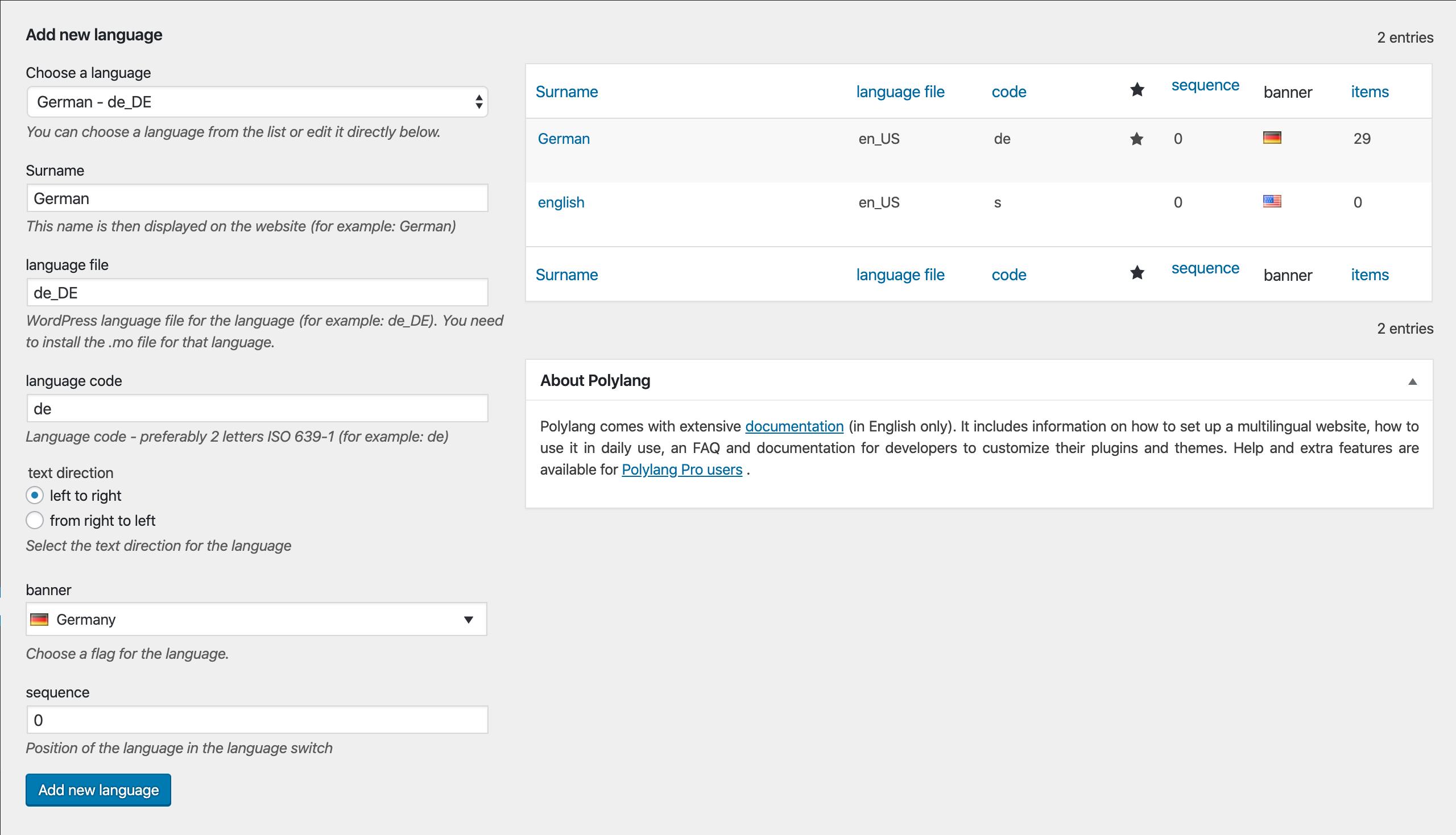 polylang pro plugin settings