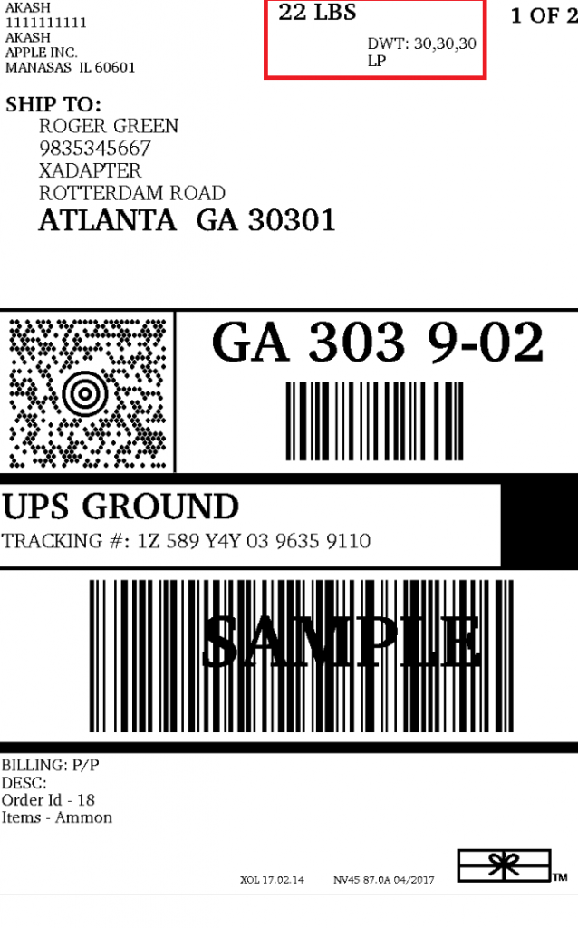 UPS Shipping labels 2