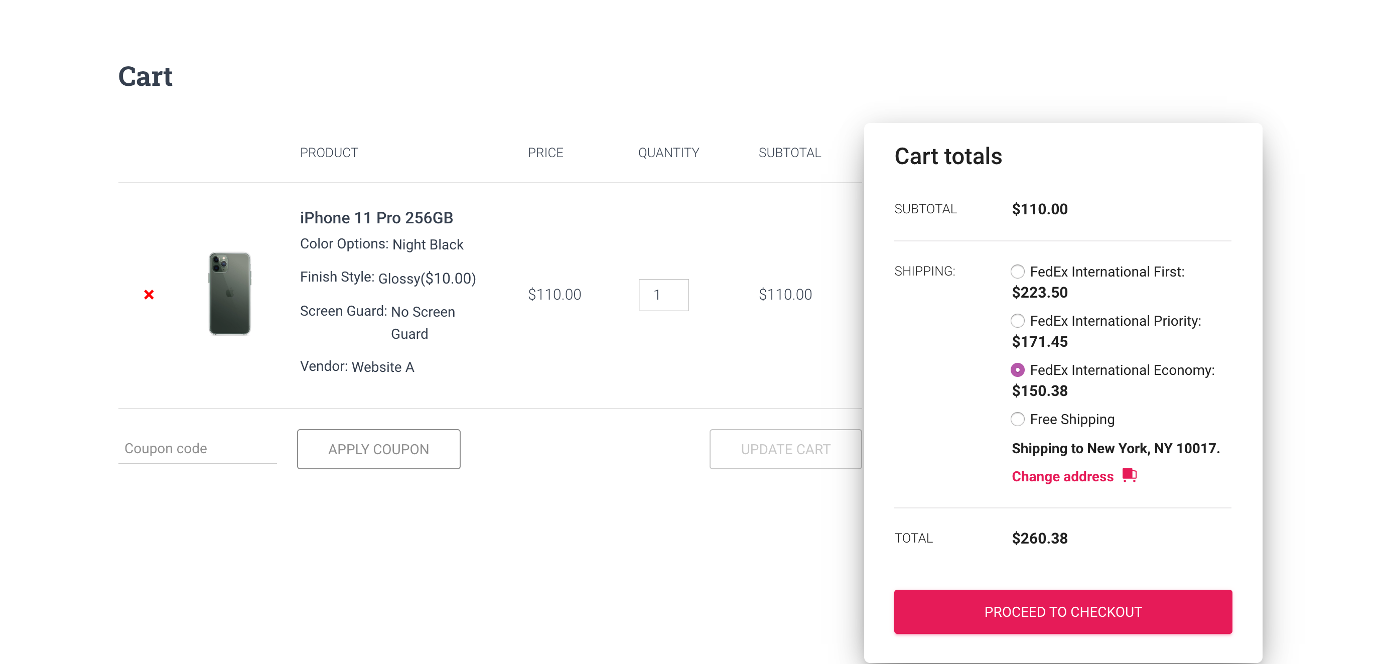 woocommerce cart page with fedex shipping options