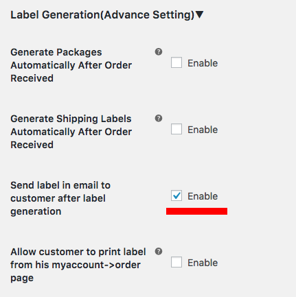 send labels via email