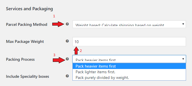 weight based packing