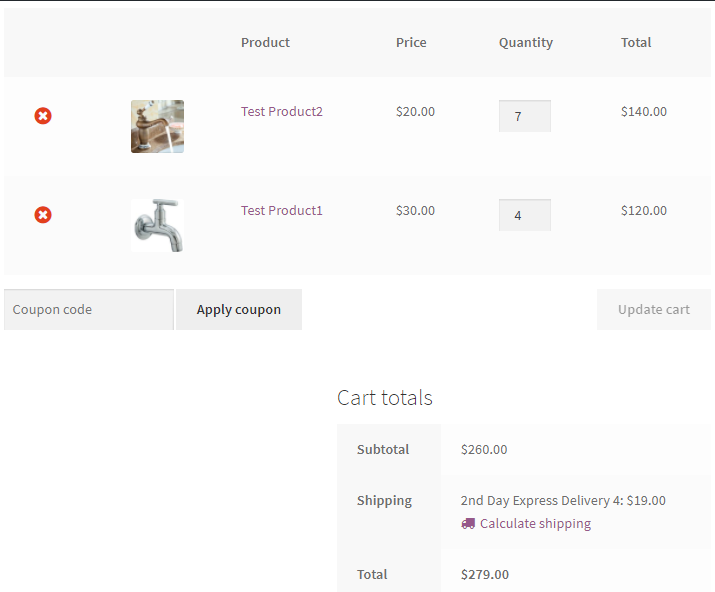 calculated shipping rates for woocommerce products