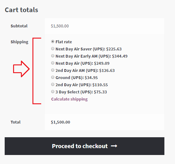 Cart page with woocommerce ups shipping methods