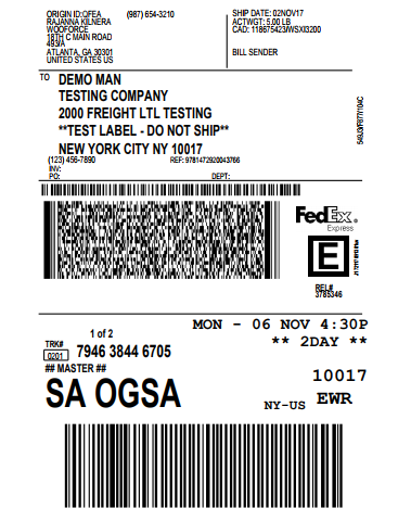 FedEx shipping label for the first shipment
