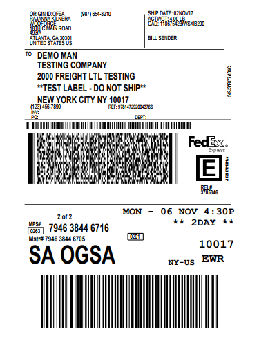 FedEx shipping label for the second shipment
