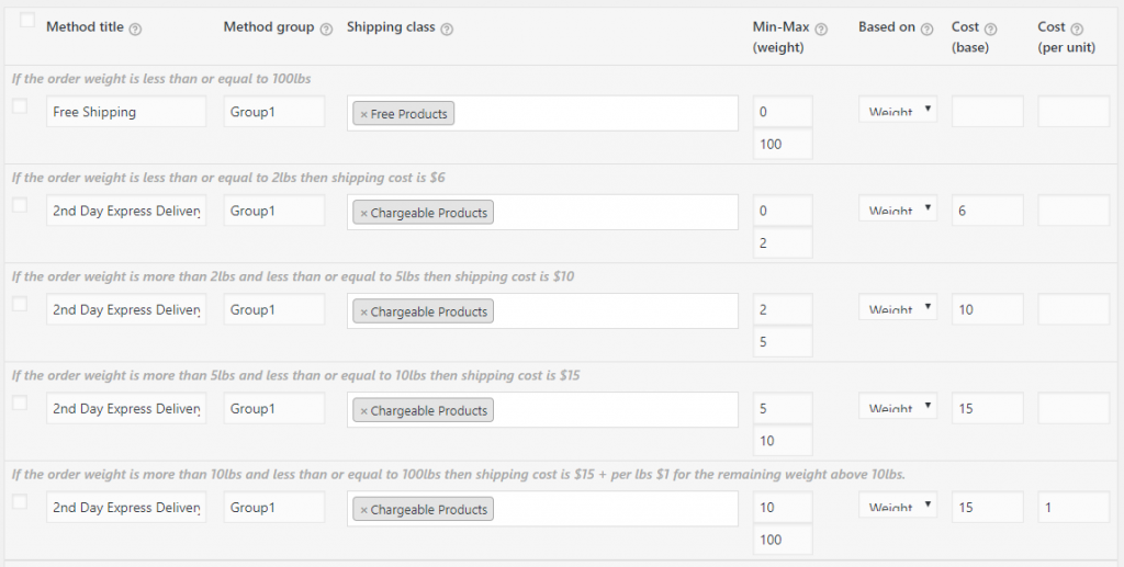 woocommerce table rate shipping rules