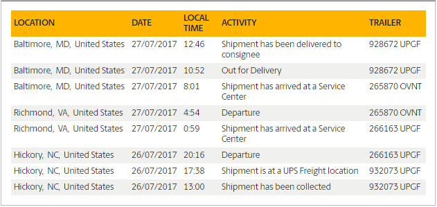 ups shipment tracking lookup page