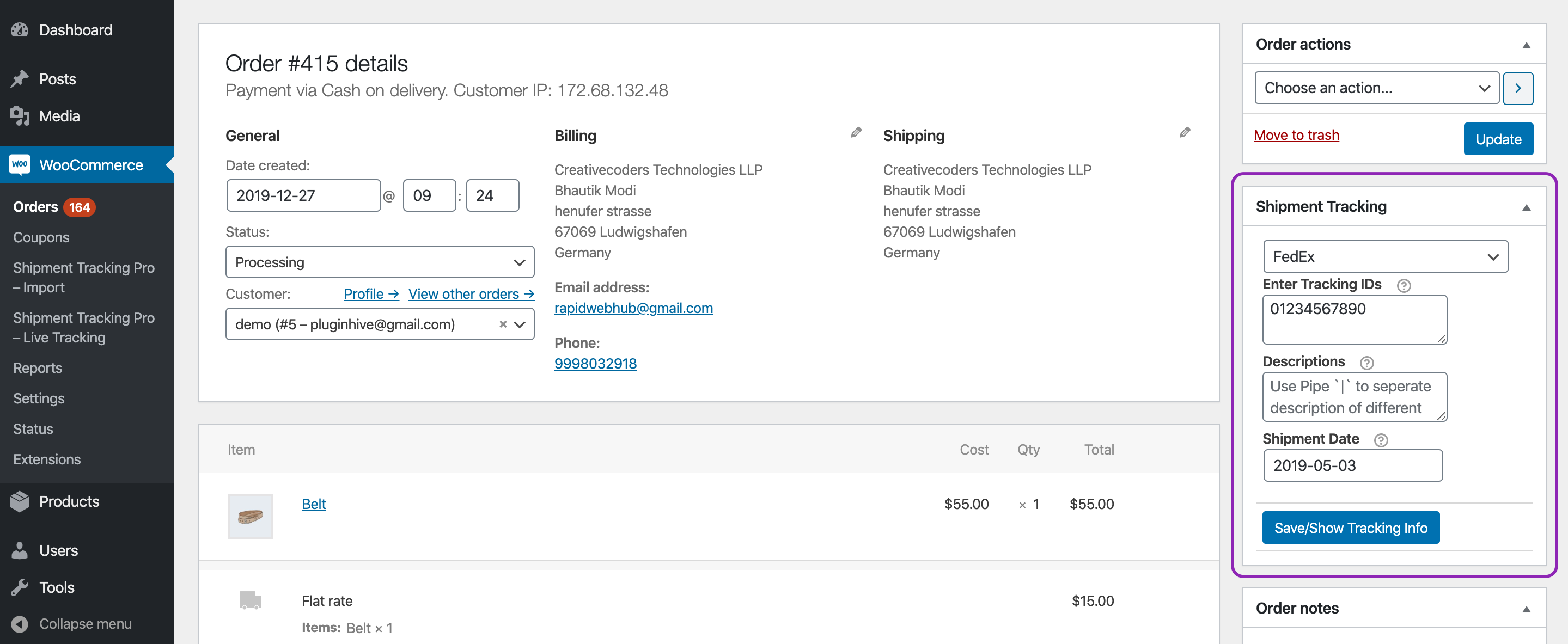 sample woocommerce order