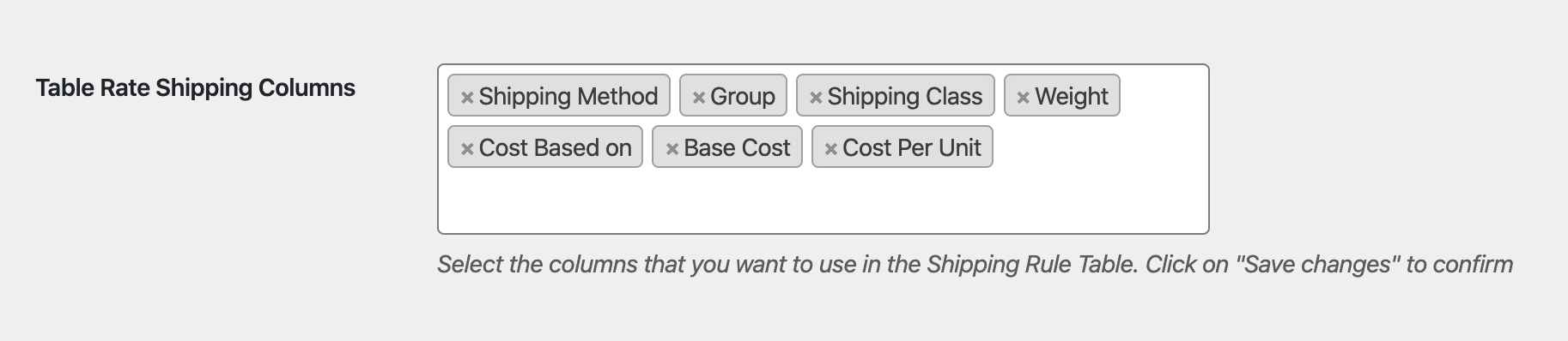 woocommerce table rate shipping columns
