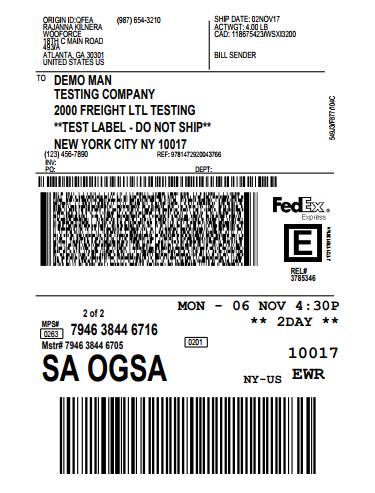 fedex shipping label