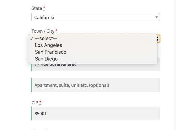 City as a drop-down list on the checkout page
