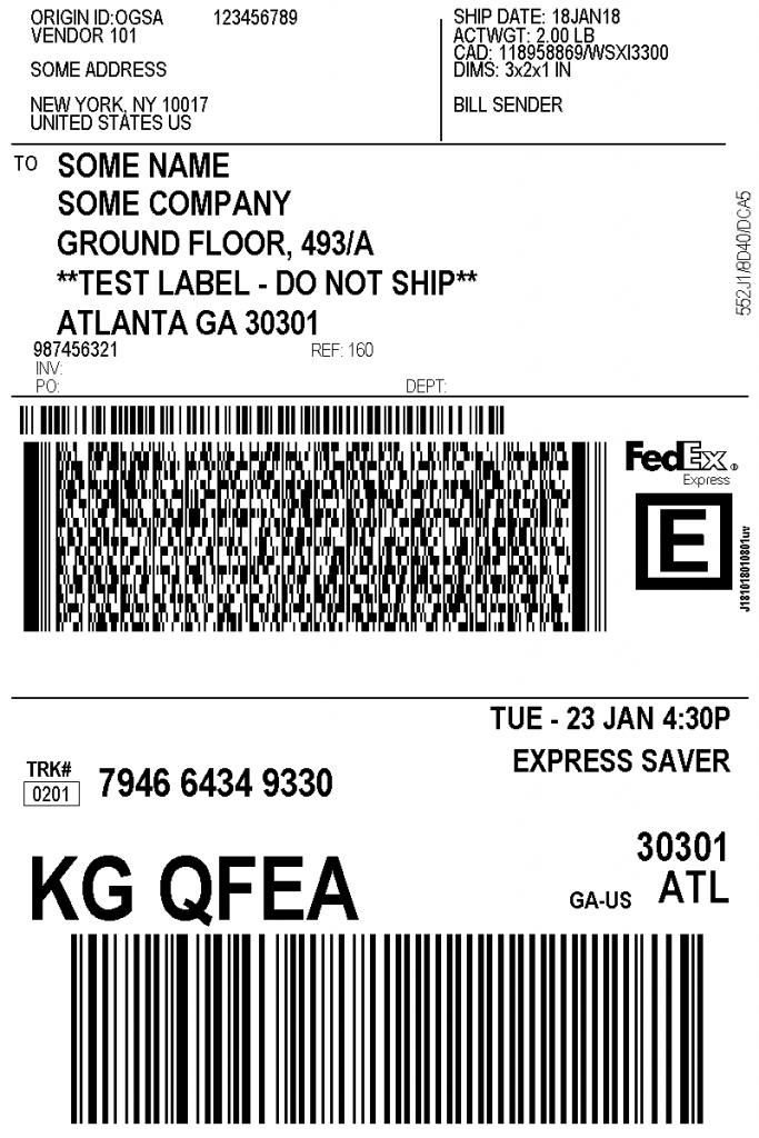 vendor shipping label