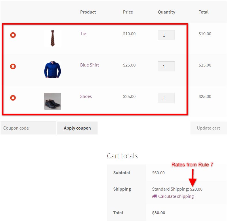 Calculate Shipping Rates for Different Types of Product in the Cart