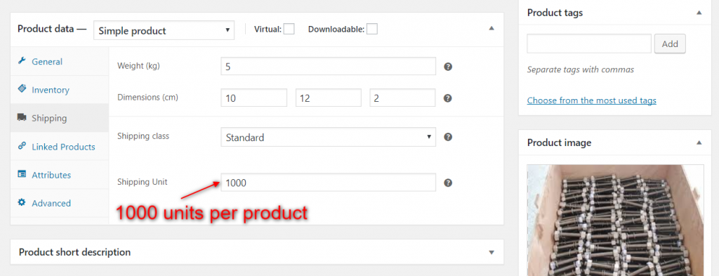 Units per product