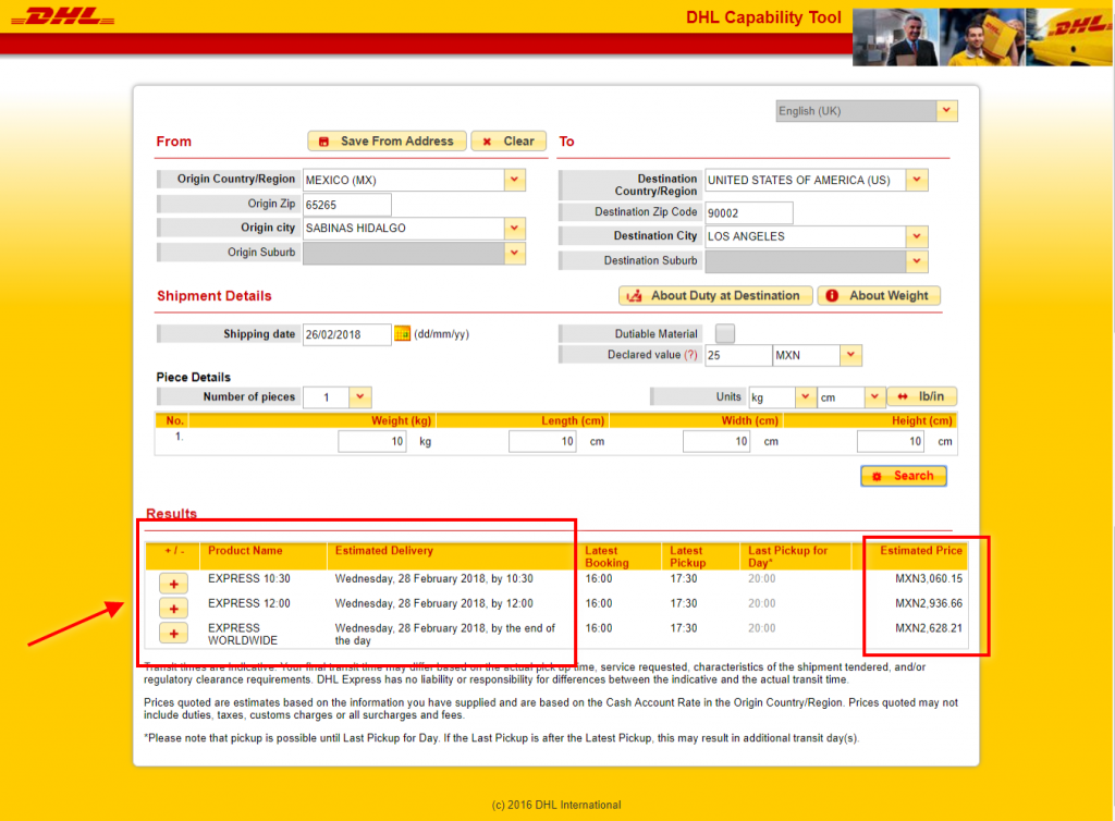 woocommerce dhl rates in Mexico