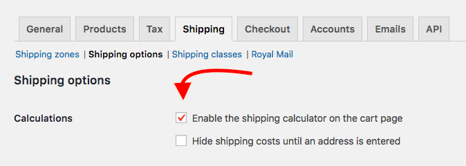 Enable Shipping Calculations