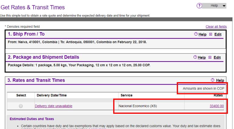 FedEx rates calculator