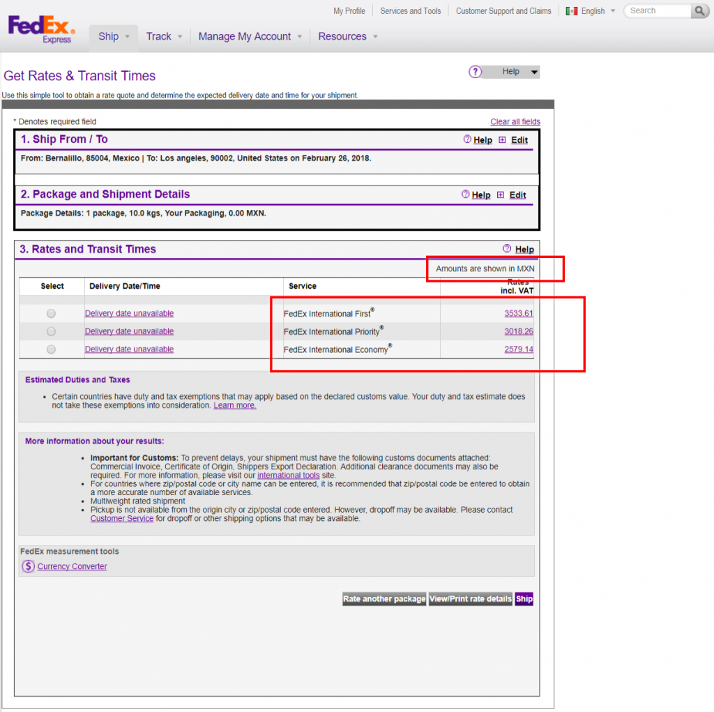 woocommerce fedex rates for mexico