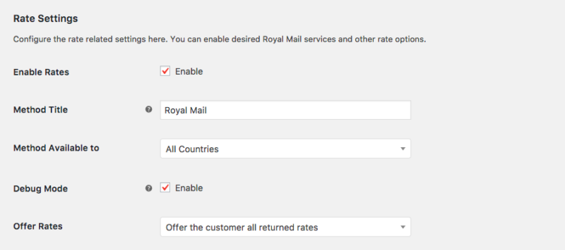 royal mail plugin settings