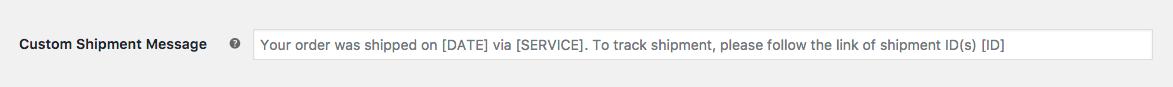 shipment message