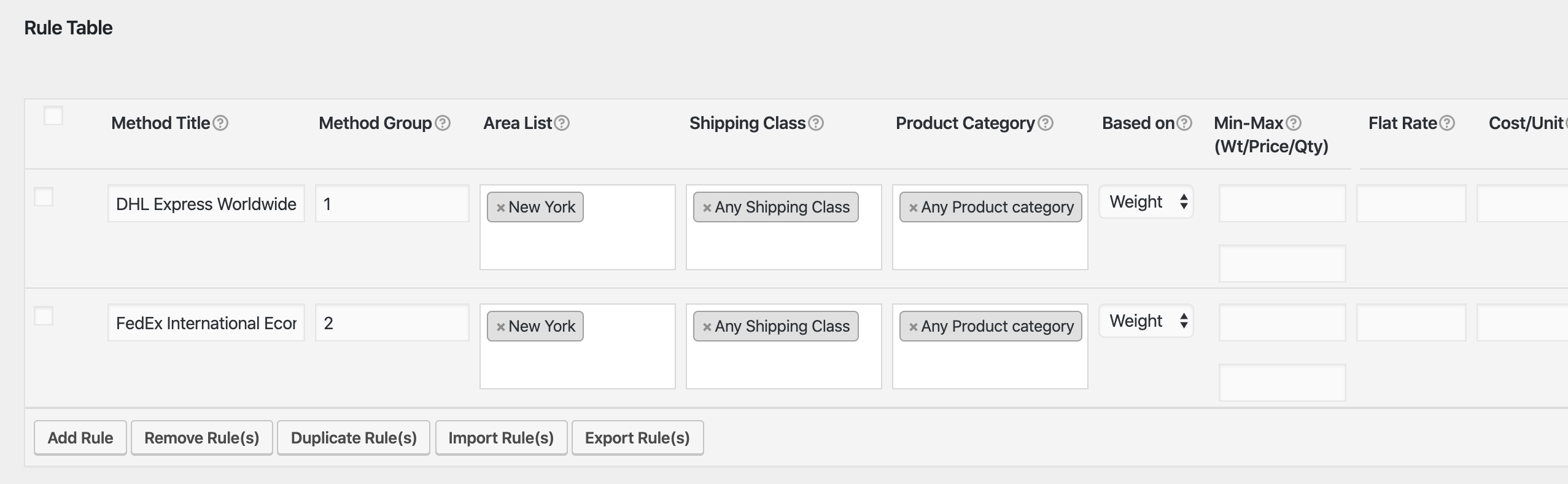 woocommerce shipping rule table