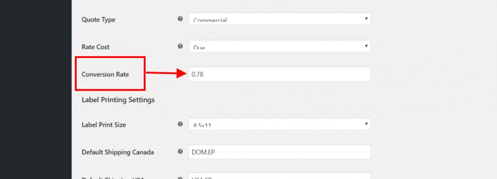 Conversion rate in plugin settings