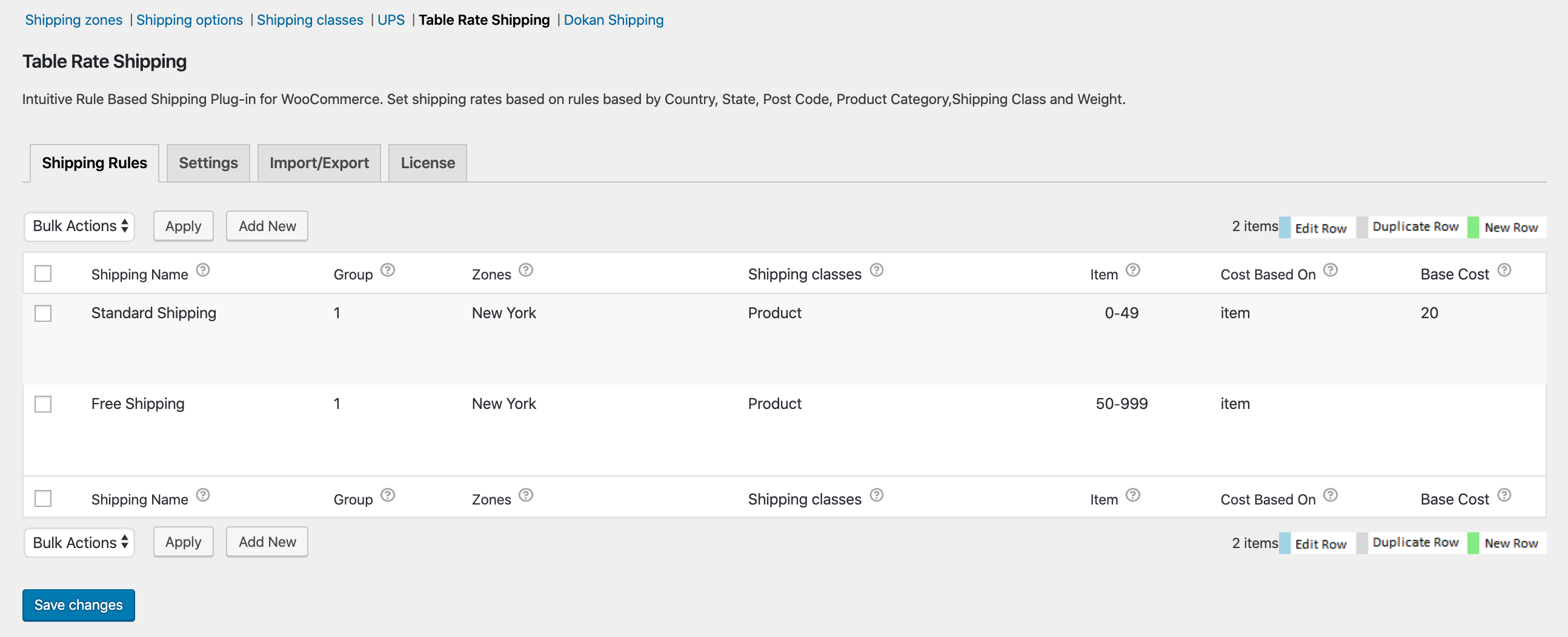 woocommerce table rate shipping settings page