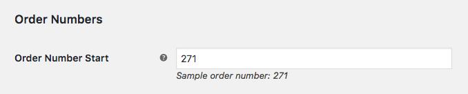 Order Number start