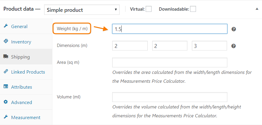 defining woocommerce product weight